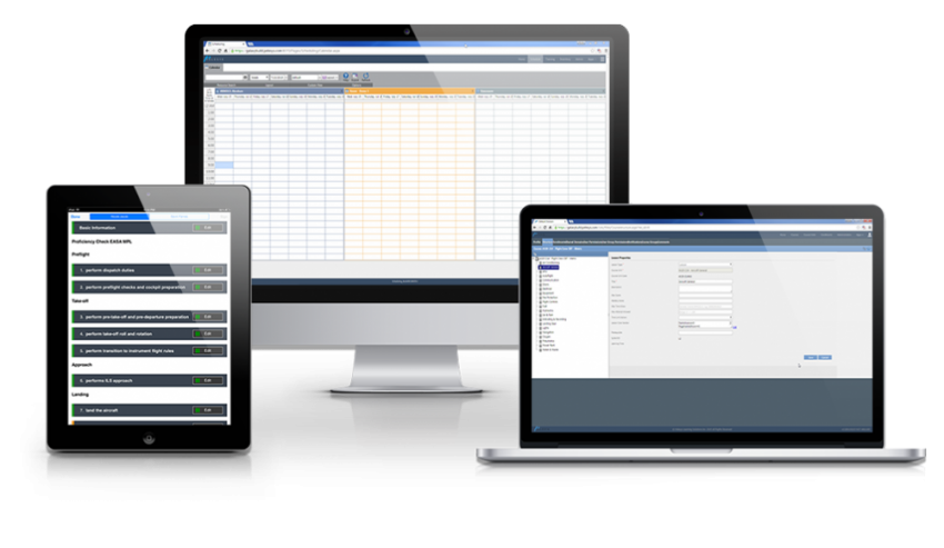 Pelesys training management system on tablet, desktop, and laptop.